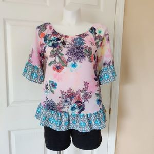 Fig & Flower floral ruffle pull over blouse sz L